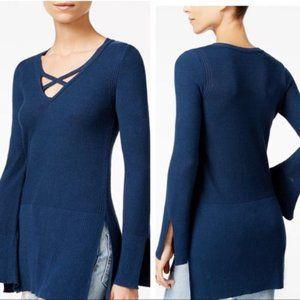 Free People   Navy Criss Cross Knit Tunic
